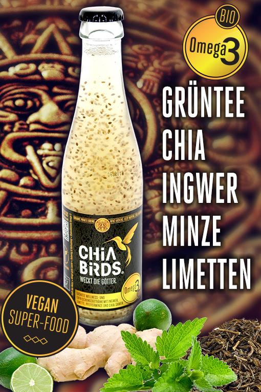 chia drink glass bio vegan chia beverage chia getränk