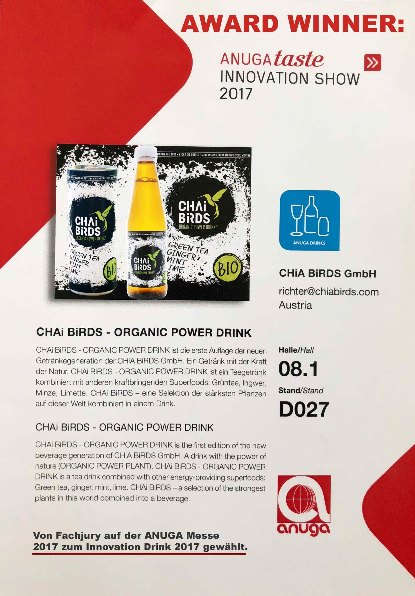 Presse - ORGANIC POWER DRINK - CHiA BiRDS | CHAi BiRDS